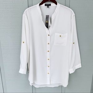 ❤️ Spense Roll Tab Career Blouse White NWT